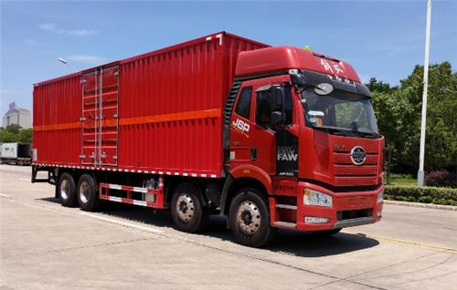 解放前四后八SDS5320XZWCA6杂项危险物品厢式运输车(黄牌柴油)